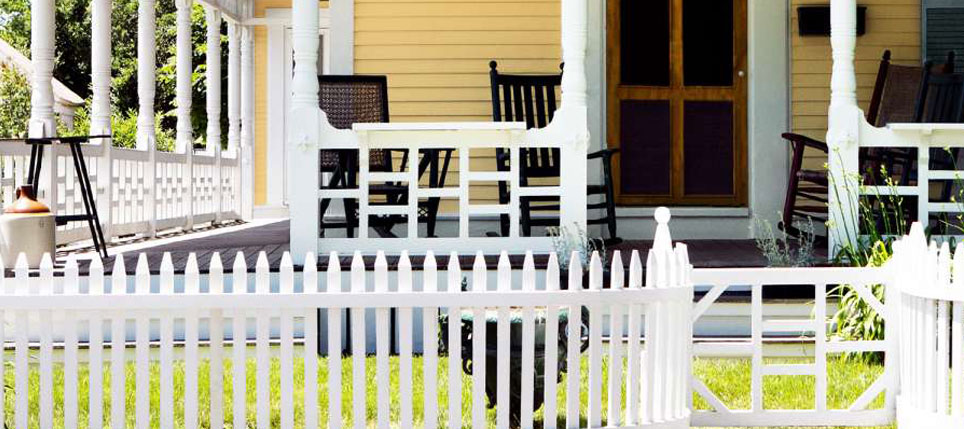 Front Deck with White Picket Fence