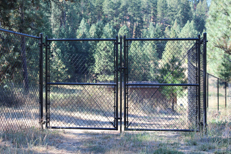 Black Chain Link Gate - Installed