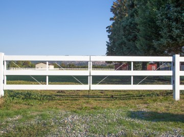 White Fence Gate for Pasture