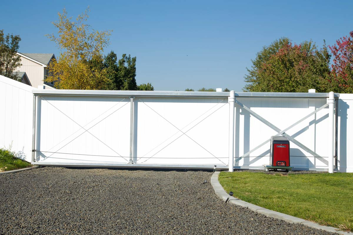 White Fence Gate and Opener